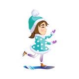 Bella, guida felice della ragazza sui pattini da ghiaccio alla pista di pattinaggio illustrazione di stock