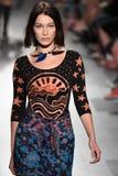 Bella Hadid walks the runway for Anna Sui fashion show. NEW YORK, NY - SEPTEMBER 11: Bella Hadid walks the runway for Anna Sui fashion show during New York Royalty Free Stock Image