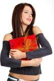 Bella holding della giovane donna Fotografia Stock