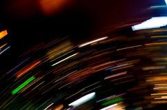 Bella illuminazione della linea futuristica abstrac di notte della costruzione del LED Immagine Stock