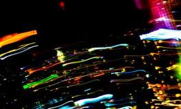 Bella illuminazione della linea futuristica abstrac di notte della costruzione del LED Immagine Stock Libera da Diritti