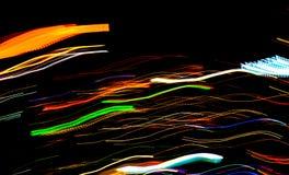 Bella illuminazione della linea futuristica abstrac di notte della costruzione del LED Immagini Stock