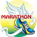 Bella illustrazione dell'emblema della maratona Immagini Stock