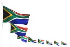 Bella illustrazione della bandiera 3d di festa del lavoro - il Sudafrica ha isolato le bandiere ha disposto diagonale, l'immagine royalty illustrazione gratis