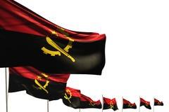 Bella illustrazione della bandiera 3d di festa nazionale - molte bandiere dell'Angola hanno disposto la diagonale isolata su bian illustrazione vettoriale