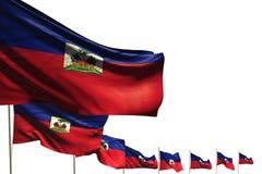 Bella illustrazione della bandiera 3d di festa nazionale - molte bandiere di Haiti hanno disposto la diagonale isolata su bianco  illustrazione di stock
