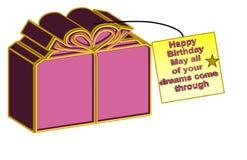 Bella illustrazione di un regalo con il ` scritto del messaggio buon compleanno Maggio tutto dei vostri sogni viene da parte a pa illustrazione vettoriale