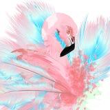 Bella illustrazione di vettore con il fenicottero ed il blu rosa tirati