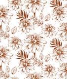 Bella illustrazione di vettore dei fiori Fondo floreale del modello Linea illustrazioni grafiche disegnate a mano di stile di art Immagine Stock Libera da Diritti