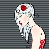 Bella illustrazione floreale della ragazza della sorgente Immagine Stock