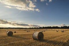 Bella immagine del paesaggio della campagna delle balle di fieno nel fie di estate Fotografia Stock