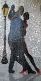 Bella immagine in un murale dei ballerini di tango dell'Argentina con una lanterna dietro Buenos Aires Argentina royalty illustrazione gratis