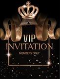 Bella insegna dell'invito di VIP con i nastri di seta con il modello, la corona e la struttura illustrazione vettoriale