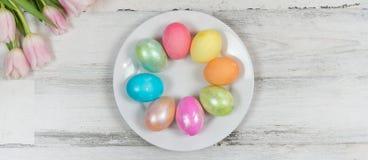 Bella insegna luminosa della molla con i tulipani freschi e le uova di Pasqua colorate fotografia stock