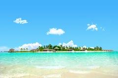Bella isola con chiara acqua Fotografia Stock