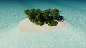 Bella isola tropicale con le grandi palme illustrazione di stock