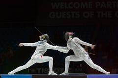 Bella lotta sul campionato del mondo nella recinzione Fotografia Stock