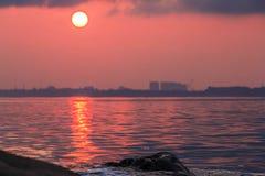 Bella luna piena all'isola di Labuan Immagine Stock Libera da Diritti