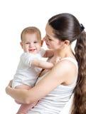 Bella madre con il bambino isolato fotografie stock