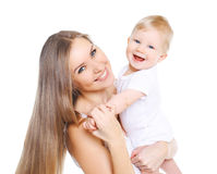 bella madre felice ed il suo bambino sveglio Fotografie Stock Libere da Diritti