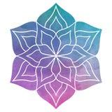 Bella mandala del fiore dell'acquerello Immagini Stock Libere da Diritti