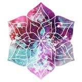 Bella mandala del fiore dell'acquerello fotografia stock