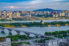 Bella mattina nella città di Chang-Sha La Cina 2017 Fotografia Stock