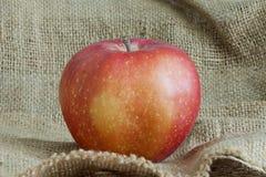 Bella mela rossa sul sacchetto della tela di canapa Fotografia Stock Libera da Diritti
