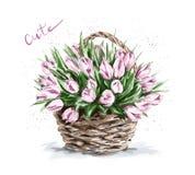 Bella merce nel carrello rosa disegnata a mano dei fiori Tulipani svegli illustrazione vettoriale