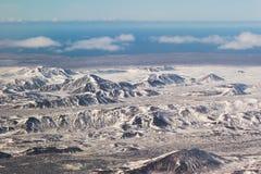 Bella montagna di vista aerea innevata Fotografie Stock Libere da Diritti