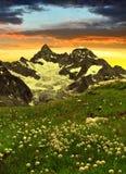 Bella montagna Gabelhorn, Svizzera Fotografie Stock