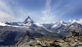 Bella montagna il Cervino, alpi svizzere Fotografia Stock Libera da Diritti