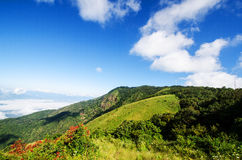 Bella montagna sotto cielo blu Fotografie Stock