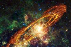 Bella nebulosa e stelle luminose nello spazio cosmico, universo misterioso d'ardore illustrazione vettoriale