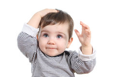 Bella neonata con la mano sulla testa Fotografia Stock
