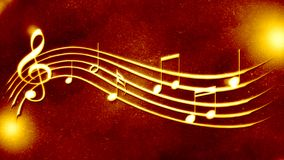 Bella notazione di musica di fondo dorata Fotografia Stock Libera da Diritti