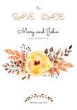 Bella partecipazione di nozze pronta dei fiori e delle foglie gialli Immagine Stock Libera da Diritti