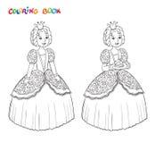 Bella piccola principessa descritta per il libro da colorare isolato su fondo bianco royalty illustrazione gratis