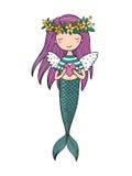 Bella piccola sirena Sirena Tema del mare immagini stock libere da diritti