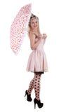 Bella pin-up con l'ombrello immagini stock libere da diritti