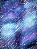 Bella pittura dell'acquerello del fondo dell'universo sull'illustrazione di carta Fotografie Stock