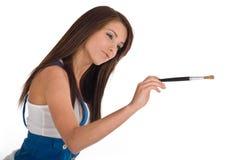 Bella pittura della donna sull'aria Fotografia Stock Libera da Diritti