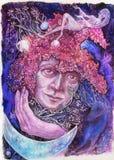 Bella pittura di fantasia dei fatati lilla del fiore, dettagliata Immagine Stock