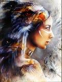 Bella pittura mistica di giovane donna indiana che indossa un grande Fotografie Stock