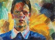Bella pittura a olio originale con gli uomini Fotografia Stock