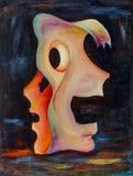 Bella pittura a olio originale con la doppia maschera Immagini Stock Libere da Diritti