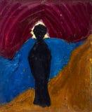 Bella pittura a olio originale con la siluetta nera Fotografia Stock