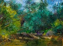 Bella pittura a olio originale con paesaggio, il fiume e gli alberi Immagini Stock Libere da Diritti