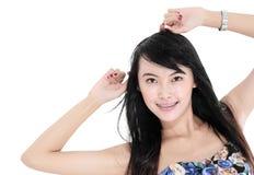 Bella posa del modello di moda della giovane donna Fotografia Stock