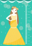 Bella principessa con la parete del tester o il metro di altezza da 50 a 180 centimetri, illustrazioni di vettore Immagini Stock